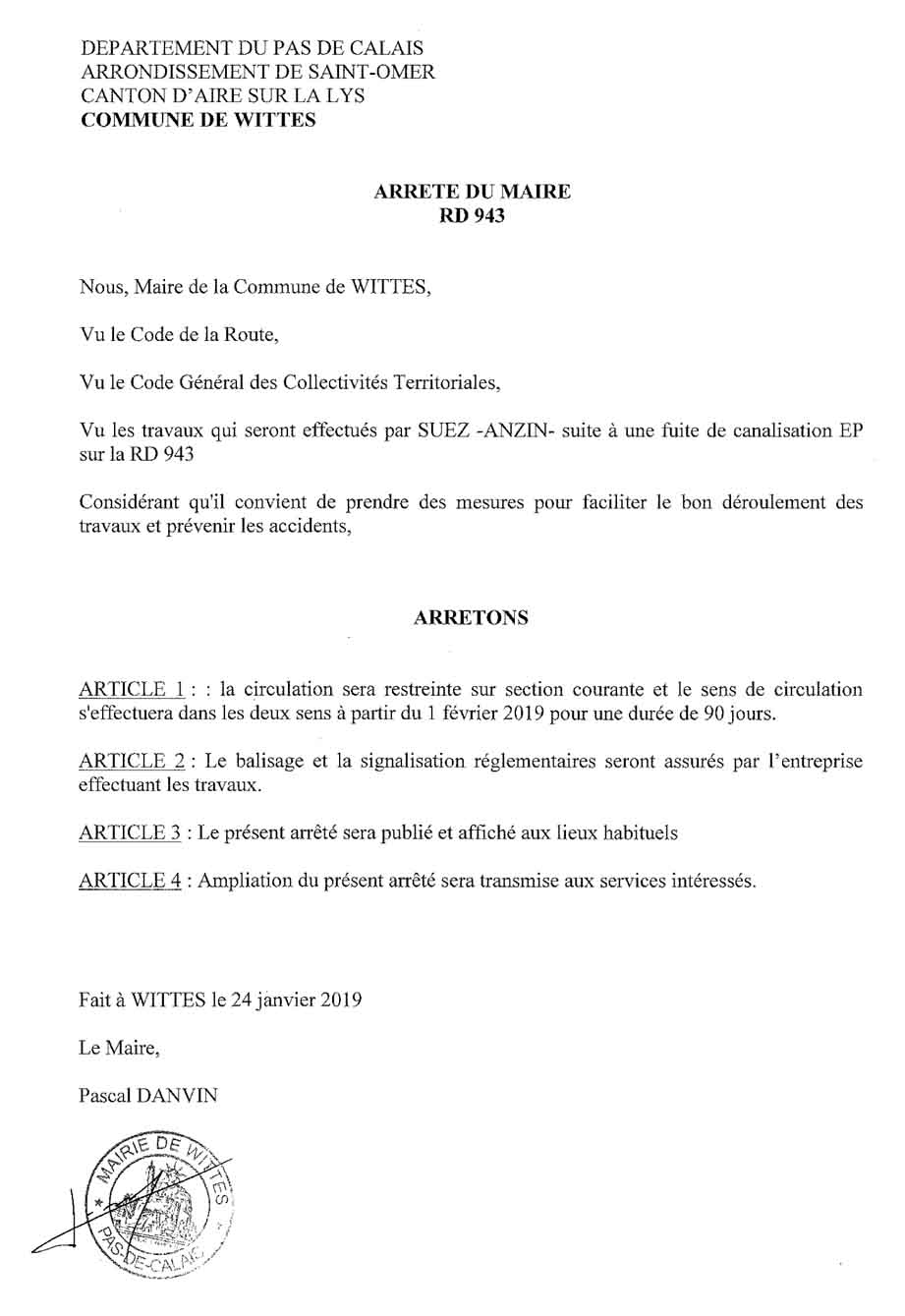 Arrete restriction de circulation rd 943
