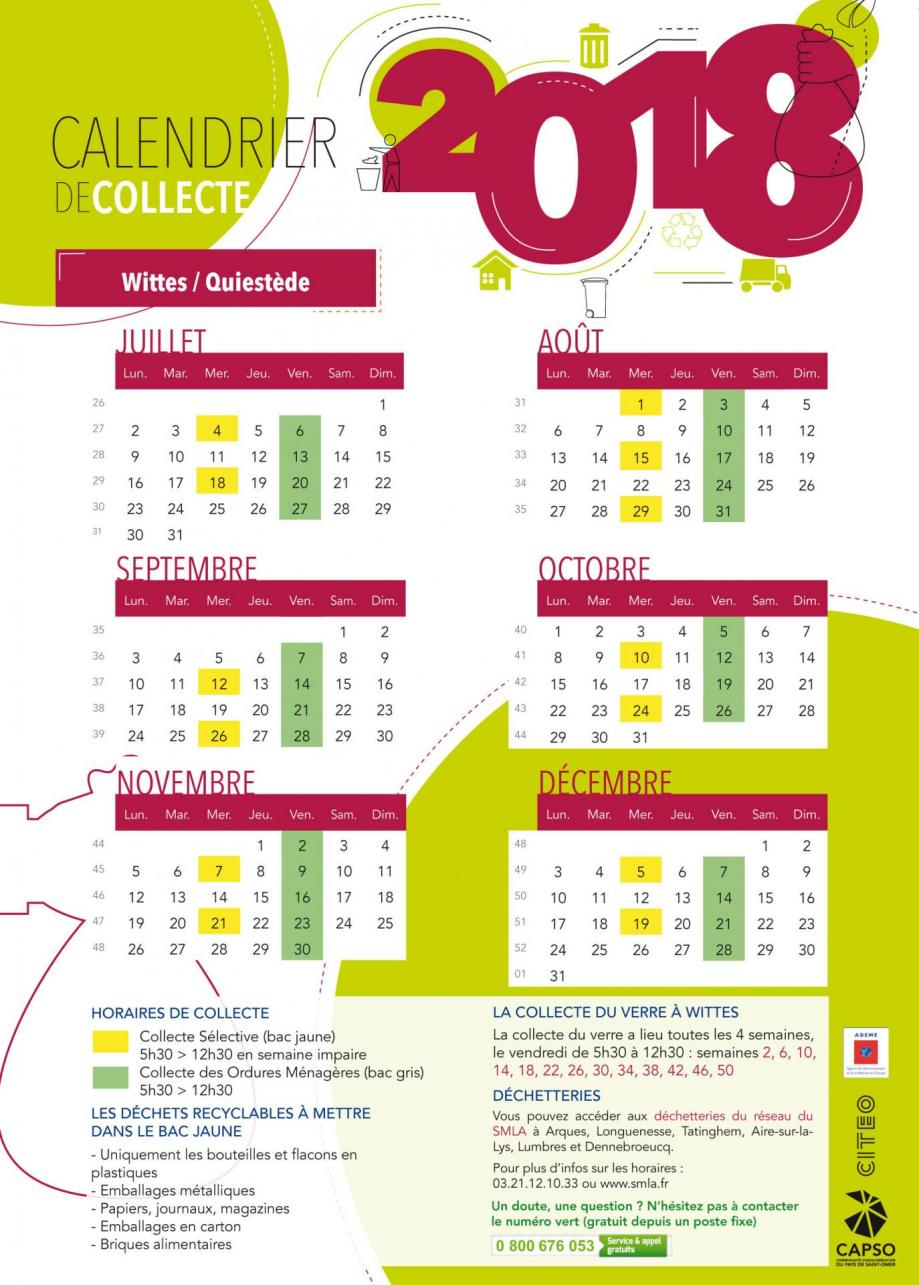 Calendrier wittes 2018 2