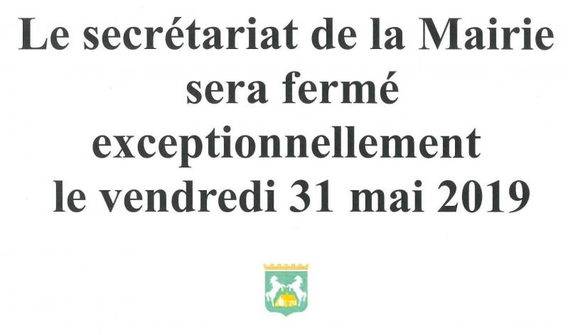 La mairie sera fermee le mercredi 31 mai