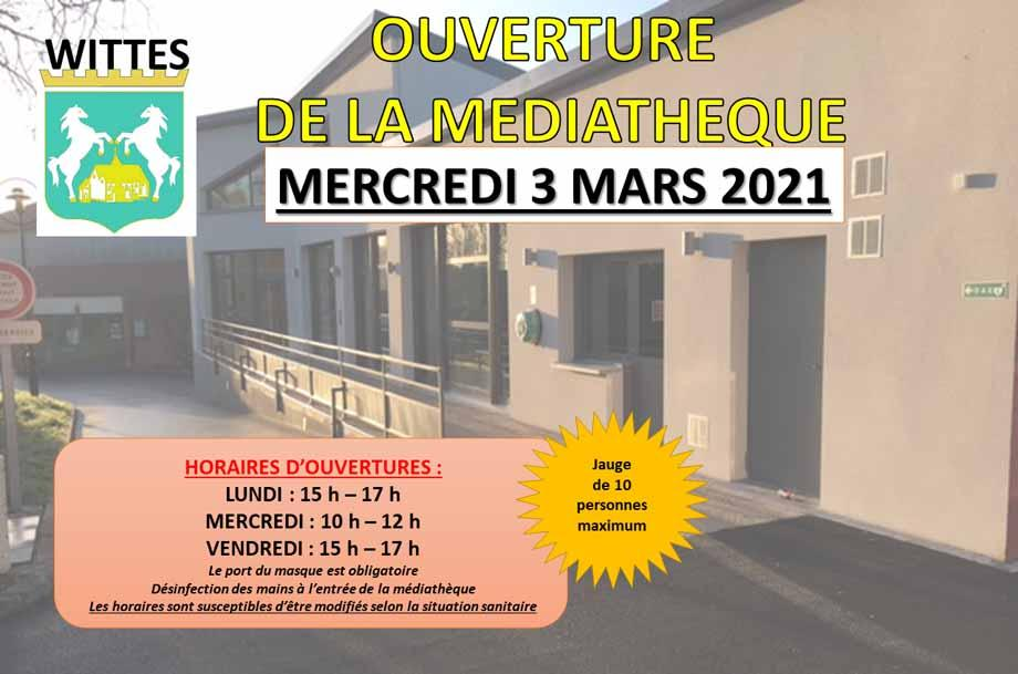 Ouverture mediatheque mars