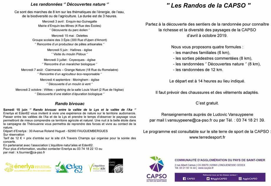 Programme randonnees capso 2019