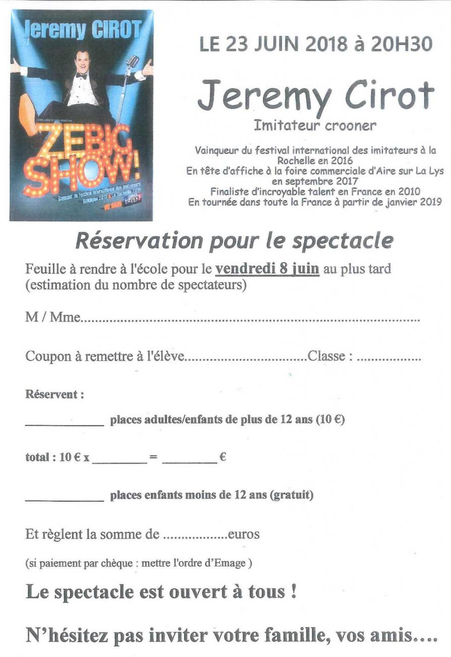 Reservation spectacle