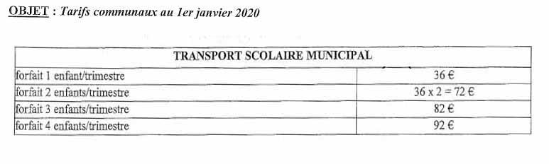 Tarif transport