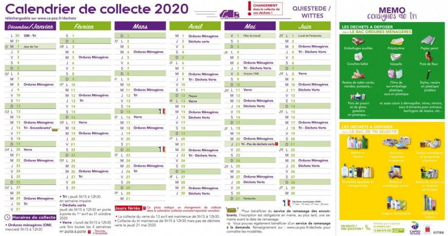Wittes calendrier collecte 1
