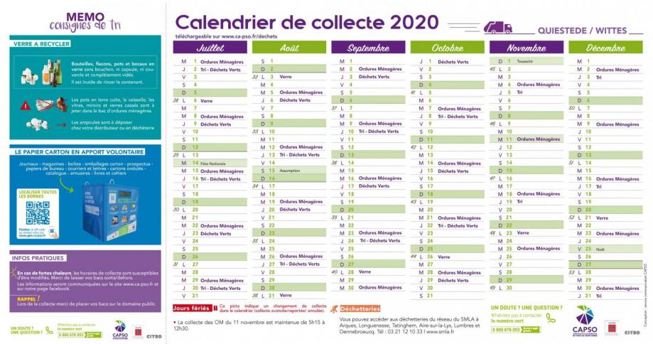 Wittes calendrier collecte 2